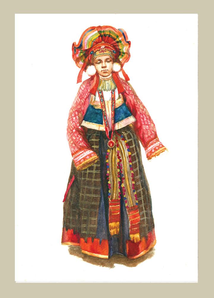 Русский костюм в открытках 430